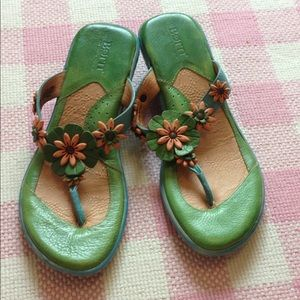 Born Green and Blue Leather Sandals